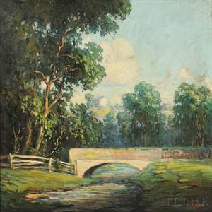 Walter Koeniger American 18811943 Summer Landscape with River and Bridge