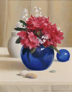 Robert Douglas Hunter American 19282014 Still Life with Flowers in a Cobalt Blue Vase
