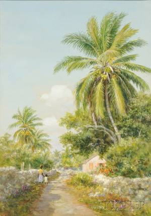 Armin Buchterkirch American 18591915 Tropical Landscape with Figures on a Path