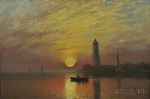 Albert Bierstadt American 18301902 Lighthouse Newport Rhode Island