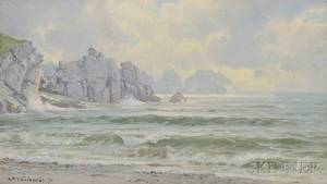 William Trost Richards American 18331905 Beach and Cliffs