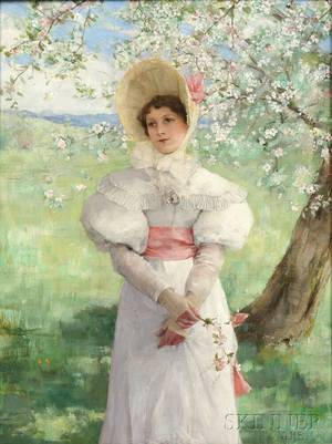 George Henry Boughton American 18331905 Young Woman in White Beneath Flowering Branches