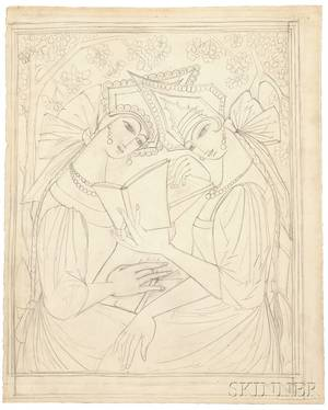 Natalia Sergeevna Goncharova Russian 18811962 Two Russian Maidens ReadingA Preparatory Drawing for a Poster Design for J Povoloz