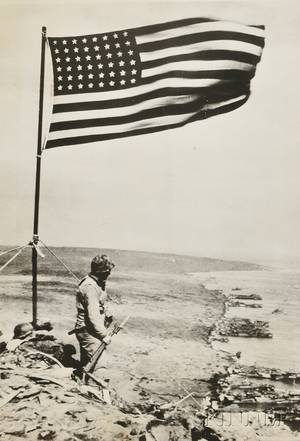 Three World War II Photographs Obie Newcomb American 20th Century The Marines Go In Tarawa Gilbert Islands