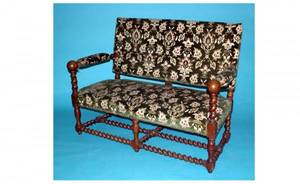 1178 WalnutFramed Settee with upholstered seat back
