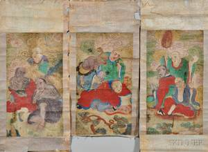 Three Buddhist Painting Scrolls
