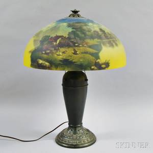 Reversepainted and Cast Metal Table Lamp