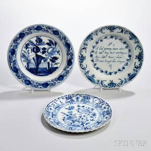 Three Dutch Delftware Blue and White Plates