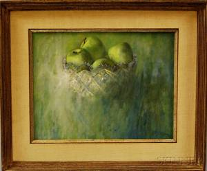 American School 20th Century Still Life with Apples in a Glass Bowl