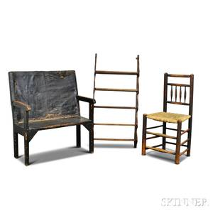 Blackpainted Settee a Carved Oak Hanging Wall Shelf and a Side Chair