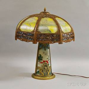 Neoclassicalstyle Giltmetal and Reversepainted Glass Table Lamp
