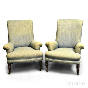 Pair of Victorian Upholstered Walnut Slipper Chairs