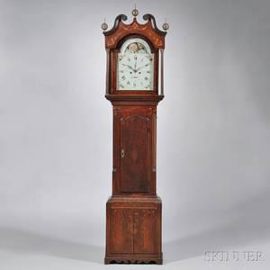 W Wilkinson Mahogany and Oak Veneered Longcase Clock