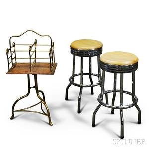 Pair of Chrome Stools and a Brass and Oak Book Rack