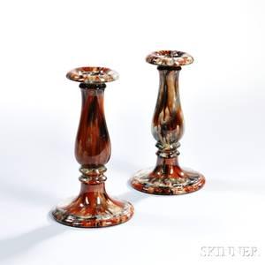 Pair of Salopian Art Pottery Candlesticks