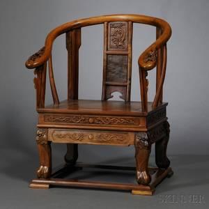 Horseshoeback Armchair and a Hardwood Brush Pot