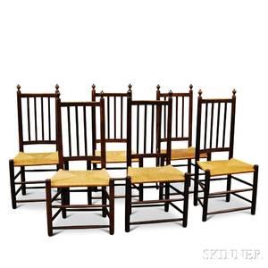 Set of Six Oak Side Chairs