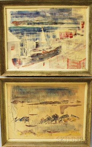 Two Framed Alfred Birdsey Watercolor Harbor Scenes