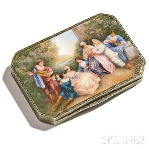 Continental 935 Silver and Enamel Snuff Box