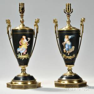 Pair of Empirestyle Handpainted Porcelain Vases
