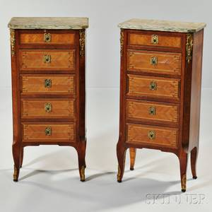Pair of Louis XVIstyle Fruitwood Marbletop Commodes
