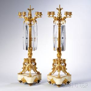 Pair of Empirestyle Giltbronze Fivelight Candelabra
