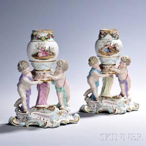 Pair of Meissen Porcelain Figural Vases