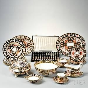 Fortyfour Pieces of Royal Crown Derby Imari Pattern Porcelain