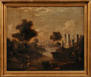 Continental School 19th Century Pastoral Landscape with Castle and River