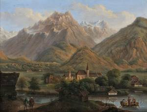 Marcus Pernhart Austrian 18241871 Mountain Valley with Church River and Distant Village