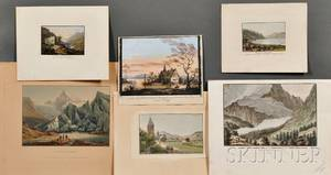 Continental School 18th19th Century Six Works on Paper of European Landscapes including five engravings and etchings by various art