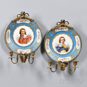 Pair of Sevresstyle Porcelain and Giltbronze Sconces