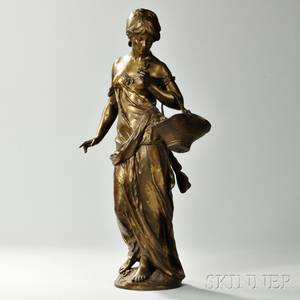 After Auguste Moreau French 18341917 Bronze Model of a Flower Seller