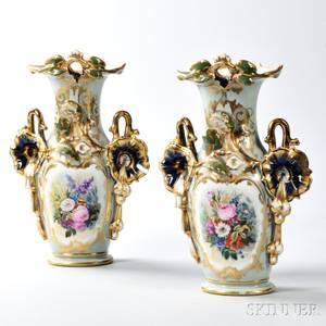 Pair of Limoges Porcelain Vases