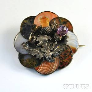 Sterling Silver Scottish Agate and Gemstone Brooch