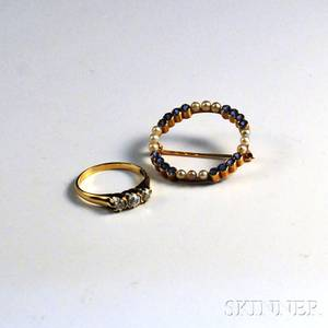 14kt Gold and Diamond Ring and 14kt Gold Gemset Circle Brooch