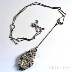 Art Deco Platinum Diamond and Sapphire Watch Pendant