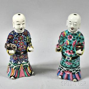 Two Famille Rose Figures of Boys