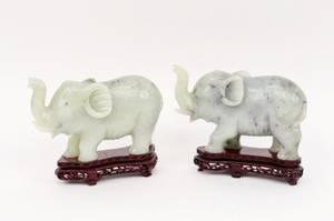 Pair of Chinese Carved Jade Elephants
