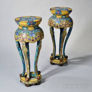 Pair of Tall Cloisonne Stands