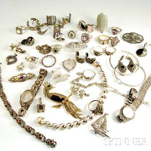 Group of Mostly Sterling Silver and Marcasite Jewelry