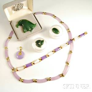 Group of Purple and Green Jade Jewelry