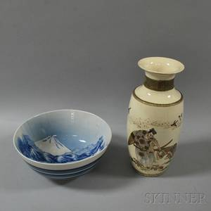 Large Satsuma Vase and a Blue and White Bowl