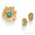 18kt Gold and Emerald Brooch and Earclips