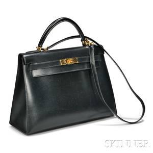 Black Leather Kelly Handbag Hermes
