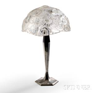 Art Deco Glass Table Lamp in the Manner of MariusErnest Sabino