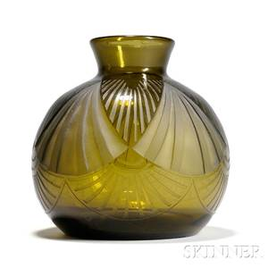 Verrerie Legras Art Deco Glass Vase