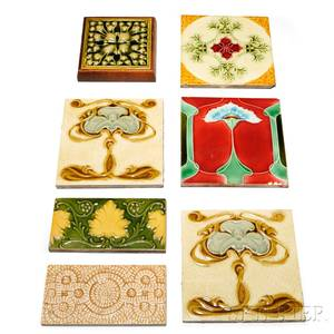 Two J amp J Low Art Nouveau Tiles and Five Other Tiles