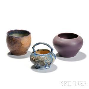 Three Art Pottery Vessels Including Pierrefonds Vase