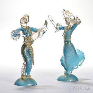 Two Murano Glass Musicians attributed to Barovier  Toso
